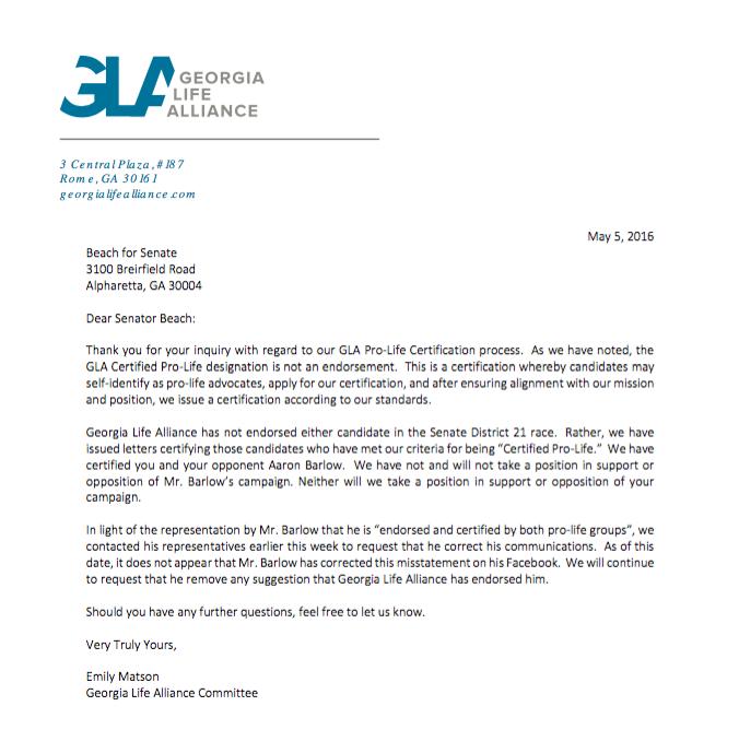 GLA Letter